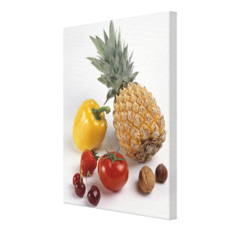 Yellow sweet pepper, tomato, pineapple, gallery wrapped canvas