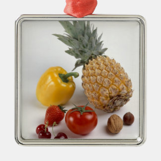 Yellow sweet pepper, tomato, pineapple, Silver-Colored square decoration