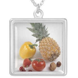 Yellow sweet pepper, tomato, pineapple, silver plated necklace