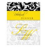 Yellow Swirl Monogram Rehearsal Dinner Card Invitation