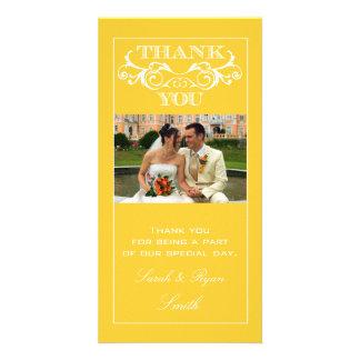 Yellow Swirl Wedding Thank You Photo Cards