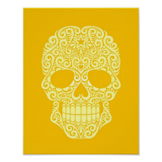 Yellow Swirling Sugar Skull Poster
