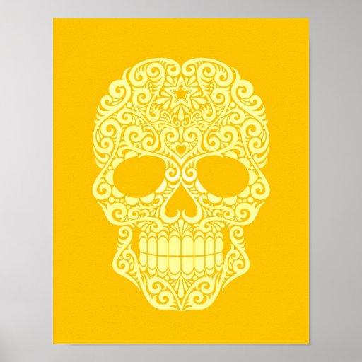 Yellow Swirling Sugar Skull Print