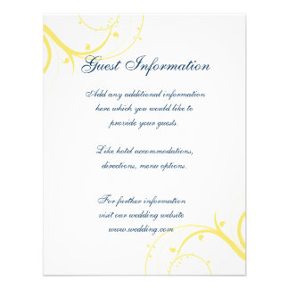 Yellow Swirls Wedding Information Card