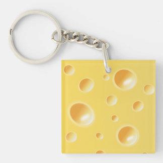 Yellow Swiss Cheese Texture Key Ring