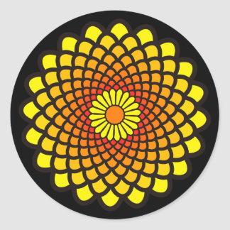 Yellow Symmetry Round Sticker