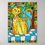 Yellow Tabby Cat & Glass of Lemonade Mini Folk Art Poster