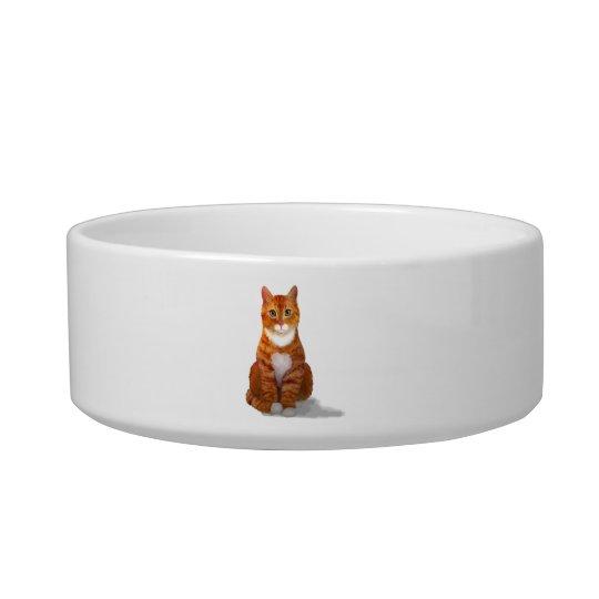 Yellow Tabby Cat Pet Bowl