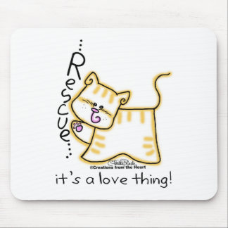 Yellow Tabby Rescue it s a love thing Mouse Mat