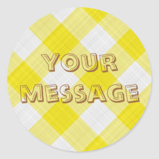 yellow table cloth classic round sticker