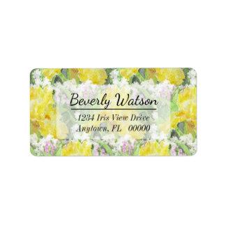 Yellow Tall Bearded Iris Watercolor Address Label