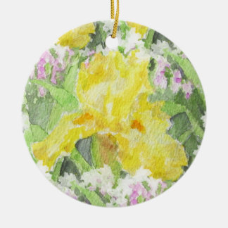 Yellow Tall Bearded Iris Watercolor Christmas Ornament