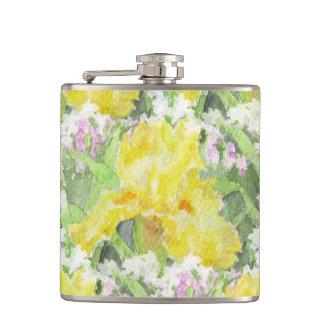 Yellow Tall Bearded Iris Watercolor Hip Flask