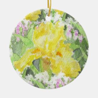 Yellow Tall Bearded Iris Watercolor Round Ceramic Decoration