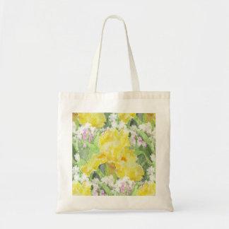 Yellow Tall Bearded Iris Watercolor Tote Bag