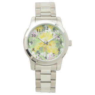 Yellow Tall Bearded Iris Watercolor Watch