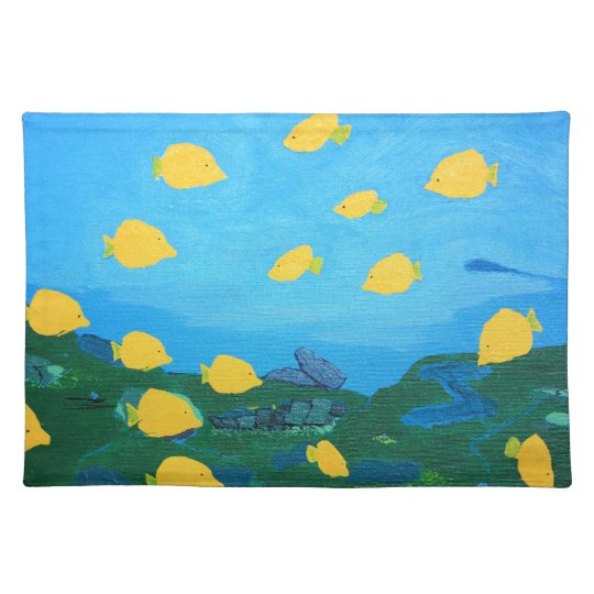 Yellow Tang in Ocean Acrylic Painting Placemat