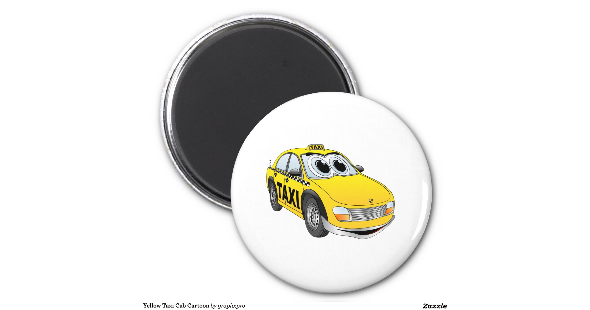 yellow taxi cab cartoon 6 cm round magnet zazzle. Black Bedroom Furniture Sets. Home Design Ideas
