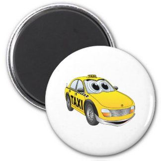 Yellow Taxi Cab Cartoon 6 Cm Round Magnet