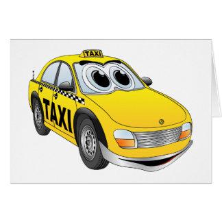 Yellow Taxi Cab Cartoon Card