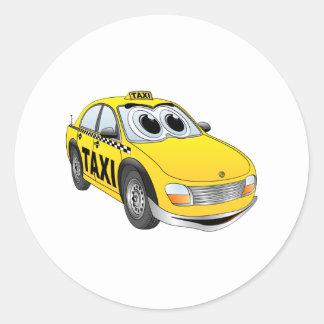 Yellow Taxi Cab Cartoon Round Sticker