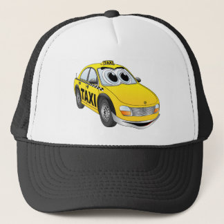 Yellow Taxi Cab Cartoon Trucker Hat