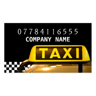 Yellow Taxi Cab Sign And Strip Pack Of Standard Business Cards