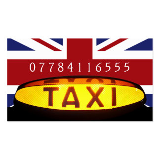 Yellow Taxi Cab Sign British Flag Pack Of Standard Business Cards