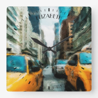 Yellow Taxi Cabs After Rain In New York City Wall Clock