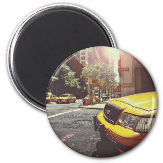 yellow taxi cabs service 6 cm round magnet
