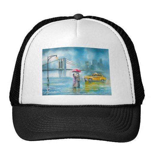 Yellow taxi couple rainy day romantic couple mesh hats