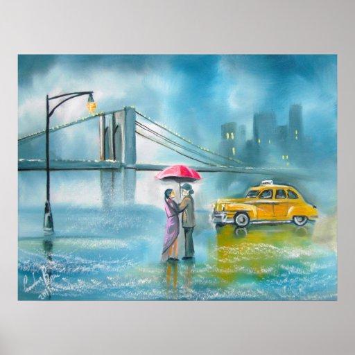 Yellow taxi couple rainy day romantic couple poster