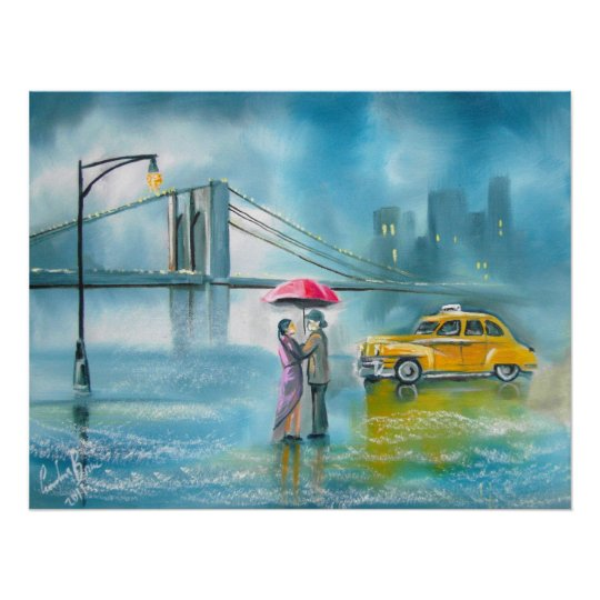 Yellow taxi couple rainy day romantic couple poster