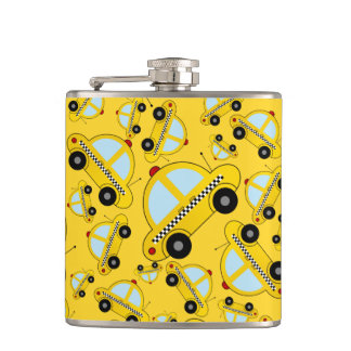 Yellow taxi pattern hip flask