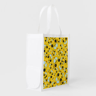 Yellow taxi pattern reusable grocery bag
