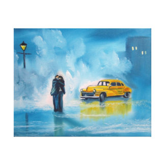 Yellow taxi rainy day romantic couple painting canvas print