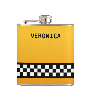 """Yellow Taxi Stripe """"Add Your Name"""" Hip Flask"""