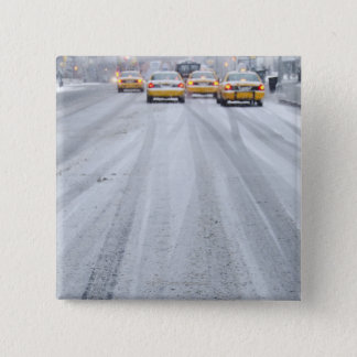 Yellow Taxis in Blizzard 15 Cm Square Badge
