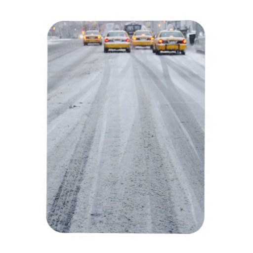 Yellow Taxis in Blizzard Vinyl Magnets
