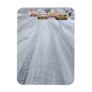 Yellow Taxis in Blizzard Rectangular Photo Magnet