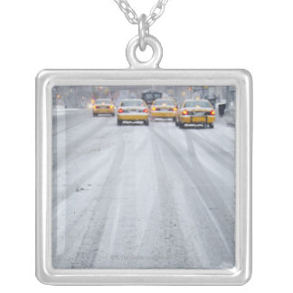 Yellow Taxis in Blizzard Silver Plated Necklace