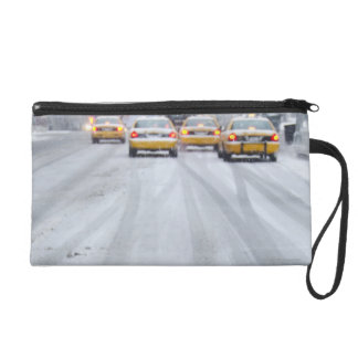 Yellow Taxis in Blizzard Wristlet