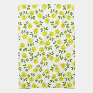 Yellow Tea Roses Kitchen Towel