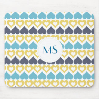 Yellow teal blue heart pattern mouse pad