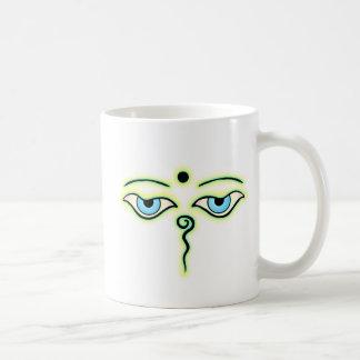 Yellow Teal Buddha Eyes.png Coffee Mug