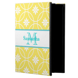 Yellow Teal Geometric Floral Pattern iPad Air Case
