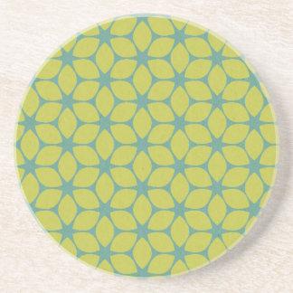 Yellow/Teal Geometric Flower Coaster