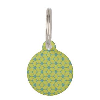 Yellow Teal Geometric Flower Pet ID Tags
