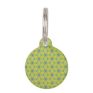 Yellow/Teal Geometric Flower Pet Name Tag