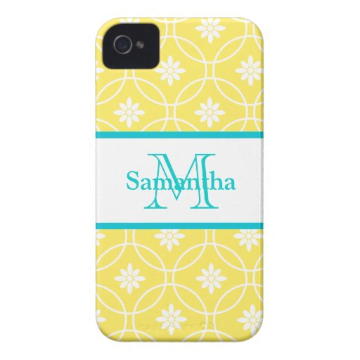 Yellow Teal Geometric Pattern iPhone 4 Cases